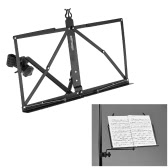 ammoon Portable Adjustable Angle Folding Clip-on Music Sheet Book Document Stand Holder Bracket Metal Black