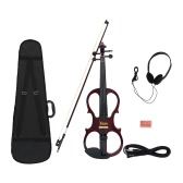 4/4 Wood Maple Electric Violin Fiddle Stringed Instrument with Ebony Fittings Cable Headphone Case for Music Lovers Beginners