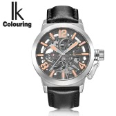 IK COLOURING Genuine Leather Automatic Mechanical Watch Transparent Hollowed-out Skeleton Wristwatch