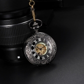 Classic Retro Style Noctilucent Hollowed-out Self-winding Automatic Mechanical Delicate Unisex Pocket Watch with Roman Hour Markers