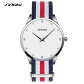 SINOBI 2016 Luxury Unique Gift Dress Watch Fashion Nylon Strap Ladies