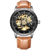 IK COLOURING Daily Water Resistant Genuine Leather Strap Automatic Mechanical Watch Skeleton Transparent Hollow Wristwatch