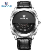 Skone Fashion Cool Men Watch with Three Dial One H/Min/S Hand Water-proof Leather Watch Band Stainless Steel Men Wristwatch Quartz Analog