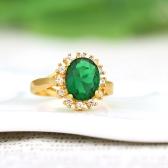 18 K ゴールド メッキ グリーン大きなジルコン リング ヴィンテージ レトロなファッションの女の子の女性のための結婚式の宝石