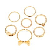 7Pcs Punk Style Gold Color Skull Bowknot Heart Design Simple Nail Band Stacking Finger Rings Set for Women