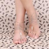 Fashionable Foot Chain Bracelet Anklet Pearl Multi Tassel Beach Barefoot Sandal