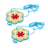 Cotton Thread Crochet Foot Chain Bracelet Anklet Colorful Flower Beach Barefoot Sandal 2#