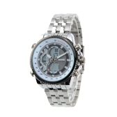 SKMEI High Quality Analog-Digital Dual Time Quartz Timepiece Waterproof Fashion Stainless Steel Business Wristwatch