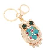 Fashional Jewelry Hollow Colorful Shinning Rhinestone Aureate Owl Pendant Key Ring Key Chain