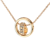 Woman Girl Retro Vintage Rhinestone Crystal Double Pendant Circle Heart Necklace Chain Jewelry