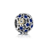 Romacci Blue Star Enameled Bead CZ Diamond S925 Sterling Silver for European Charm Bracelet DIY Women Jewelry