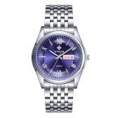 WWOOR 2016 Brand Vintage Luminous Quartz Analog Stainless Steel Business Man Watches Date Week 30M Water-Proof Casual Wristwatch for Men +Watch Box