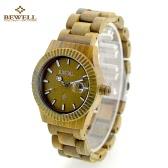 BEWELL Fashion High Quality Wood Super Lightweight Wristwatch Water Resistant Stylish Quartz Watch with Calendar