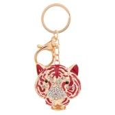 Fashion Crystal Rhinestone Hollow Cute Tiger Head Pendant Key Ring