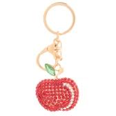 Cute Shining Rhinestone Zinc Alloy Apple Key Ring for Car Key Purse Bag Decor