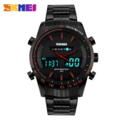 SKMEI High Quality Alloy Analog and Digital Dual Time Man Wristwatch Excellent Water Resistance Quartz Watch with Calendar Backlight Stopwatch