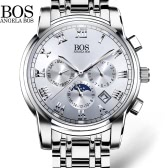 Angela Bos Luxury Stainless Steel Analog Wristwatch Luminous 3ATM Water Resistant Analog Man Quartz Watch with Luminous Hands