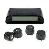 Wireless Solar Car Tire Pressure Monitoring System DIY TPMS with 4 External Sensors Bar/PSI Unit