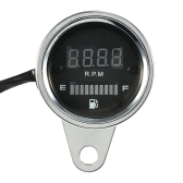 12V Motorcycle 2 in 1 Tachometer RPM Shift Meter Fuel Gauge Meter with Digital LED Indicator