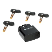 4 Internal Sensors Wireless OBD TPMS Tire Pressure Monitoring System Bar/PSI Unit for IOS Android