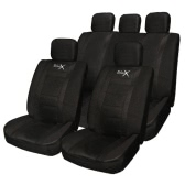 Tirol Universal 11PCS Car Seat Cover Faux Leather Front Rear Covers For Crossovers SUV Sedans Black/Gray