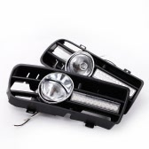 2Pcs LED DRL Daytime Running Light and Fog Light with Grille Set for VW Jetta Bora MK4 1999-2004