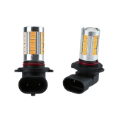 2 X 5630 33-SMD 850LM LED Car Fog Light Lamp Bulb H10 Socket Red Amber
