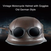 Vintage Motorcycle Helmet with Goggles Old Style Protection Shell Helmet for Scooter Bike