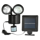 LIXADA 22LEDs Solar Powered Rotatable Adjustable Double Dural Heads Security Wall Lamp Light Induction Detection PIR Motion Sensor for Outdoor Garden Road Pathway