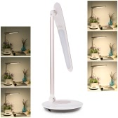 Tomshine Foldable Dimmable Touch Sensitive Control LED Desk Lamp 5.5W 300LM 6 Levels Stepless Adjustable Brightness Eye-Protection White Ultrathin Table Light with Power Adapter for Reading Working Bedtime