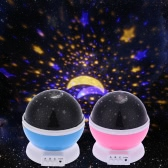 LED Starry Sky Rotating Night Light Moon USB Ball Projector Lamp 360 Degree Multi-colored Romantic Children Baby Bedroom Nursery Use Christmas Festival Gift Blue