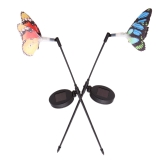2 Pieces Rechargeable Solar Power Fibre Optical with Photo Cell Light Sensor Butterfly RGB LED Color Changing Light Garden Stake Lawn Decoration Lamp