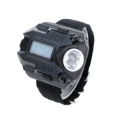 LIXADA Portable Mini Rechargeable Adjustable Brightness LED Flashlight Wrist Lamp Torch with Time Display for Outdoor Sports