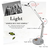 LIXADA Rotatable Foldable Flexible 9W LED Desk Lamp with Touch Switch Indicator Light Adjustable Brightness US Plug