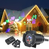 6W 4LED RGBW Outdoor Garden Landscape Lawn Projector Film Lamp Red Sky Star Spot Light with 10PCS Replaceable Pattern Lens Cards for Halloween Christmas Xmas Festival Birthday Party Decoration