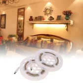 1.2M 3W LED PIR Strip Light 2PCS Double Bed AC85V-265V 220LM 36LEDs SMD3528 Human Motion Sensor Light Control Water-resistant IP65 Time Adjustable for Bedroom Kitchen Wardrobe with Power Plug Adhesive Tape
