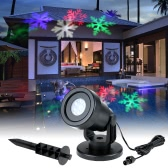 4W 4LED Moving Dynamic Snowflake Film Projector Light with Replaceable Base Pattern Decoration Garden Lawn Lamp Festival Spotlight for Christmas Xmas Party Wedding