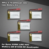 5Pcs 3.7V 600mAh 30C Lipo Battery Kit for Syma X5SW JJRC H5C Walkera QR W100S RC Quadcopter