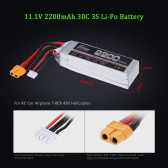 JHpower 11.1V 2200mAh 30C 3S Li-Po Battery with XT60 Plug for RC Car Airplane T-REX 450 Helicopter