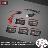 5Pcs Original XK 3.7V 780mAh 20C Li-po Battery and Charging Cable Set for XK X250 RC Helicopter