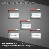 5Pcs 3.7V 390mAh 20C Lipo Battery Kit for Hubsan H107D H107C Attop YD-829C RC Quadcopter
