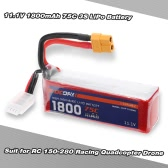 OCDAY 11.1V 1800mAh 75C 3S High Discharge LiPo Battery with XT60 Plug for RC 150-280 Racing Quadcopter QAV180 QAV250 ZMR250 Drone