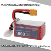 OCDAY 14.8V 1500mAh 75C 4S High Discharge LiPo Battery with XT60 Plug for RC 150-280 Racing Quadcopter QAV180 QAV250 ZMR250 Drone