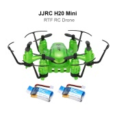 Original JJRC H20 Mini 2.4G 4CH 6-Axis Gyro Drone One Key Return Headless Mode 3D-Flip RTF RC Hexacopter with Two Batteries