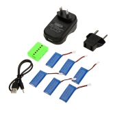 6 in 1 WSX-X6A Charger Set with 6 pcs 3.7V 500mAh Li-po Battery for JJRC H37 Hubsan H107L H107C H107D H108 H108C RC Quadcopter