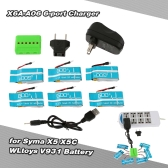 Super Fly 6-port Charger Sets X6A-A06(VA12A) 3.7V 750mAh Lipo Battery for RC Helicopter / Quadcopter Syma X5 X5C X5A X5SC X5SW Cheerson CX-30 CX-30W CX-30S JJRC H5C H9D WLtoys V931 F949