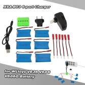 Super Fly 6-port Charger Sets X6A-B03(VA16) with 3.7V 730mAh Lipo Battery for RC Helicopter / Quadcopter JST Charging Cable for WLtoys V636 V686 V686G