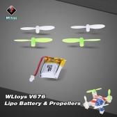 Original WLtoys V646 RC Part 3.7V 100mAh Lipo Battery V646-05(VA18) with Propeller set for WLtoys V646 V676 Hubsan H111 Cheerson CX-10 CX-10A JJRC H1 H7 RC Quadcopter