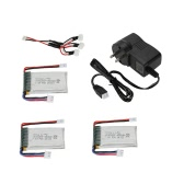 3Pcs CX-33-001 7.4V 450mAh 2S LiPo Battery with Charger Cable for Cheerson CX-33 CX-33C CX-33W RC Tricopter