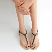 New Fashion Women Flat Sandals T-Strap Toe Post Pin Buckle Fastening Simple Shoes Flats White/Black